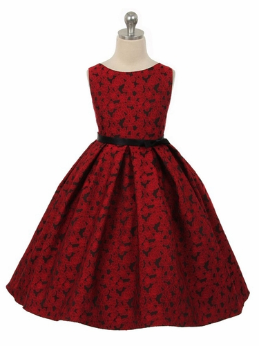 Red Floral Jacquard Dress