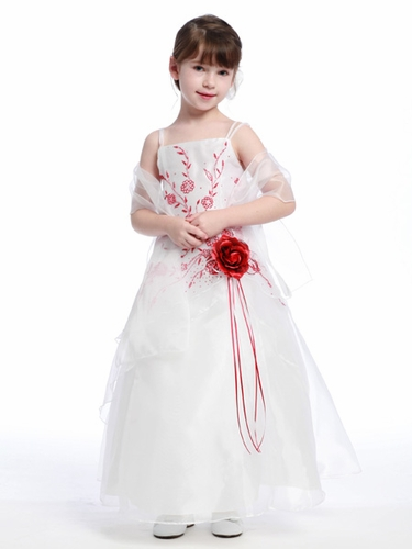 Red Flower Girl Dress - Organza A-Line Dress Shawl