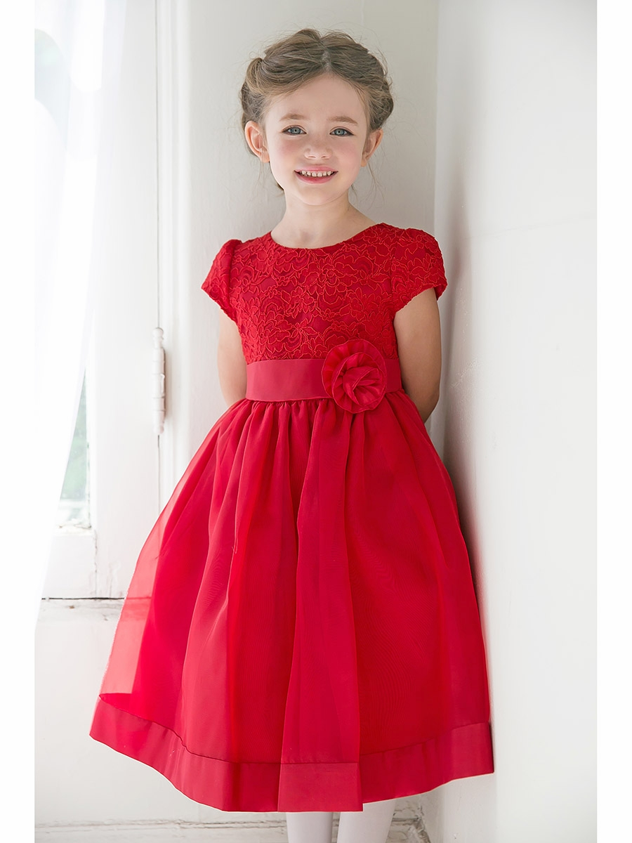 Girls Floral Lace Bodice Organza Dress