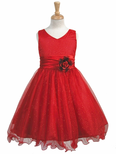 Red Glittered Poly Mesh w/ Matching Charmeuse Waist & Flower
