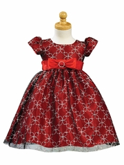Red Glittered Tulle Dress with Taffeta Waistband