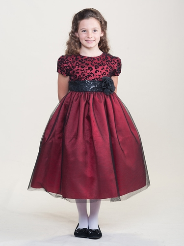 Red Holiday Dress w/ Cheetah Bodice & Sparkle Waist Band