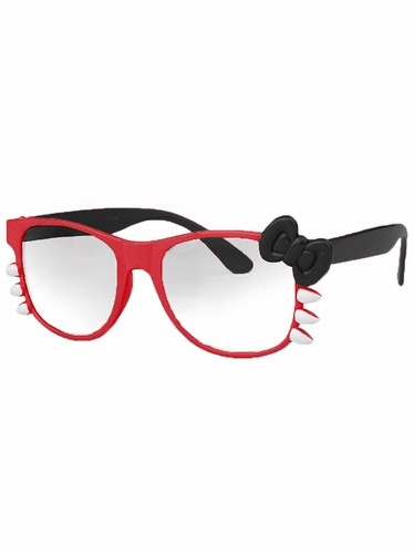Red Junior Clear Polycarbonate Lens Sunglasses w/Bow