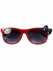 Red Kids Smoke Gradient Polycarbonate Lens Sunglasses w/ Black Bow