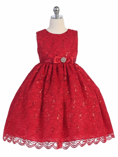 Red Lace Overlay Brooch Bow Dress