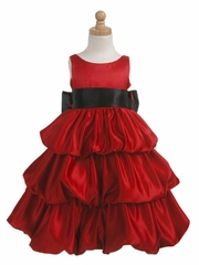Red Layered Satin Bubble Dress w/ Black Sash