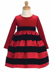 Red Log Sleeve Velvet Bodice w/ Red & Black Striped Skirt Dress