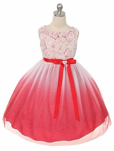 Red Ombre Dress w/ Rosette Bodice