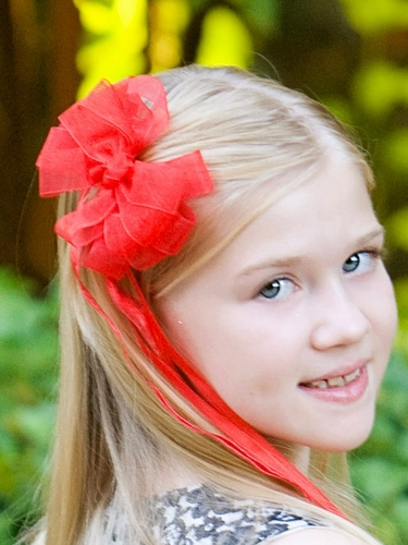 Red Organza Hair Clip w/ Ribbon