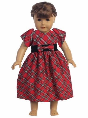 "Red Plaid 18"" Doll Dress"