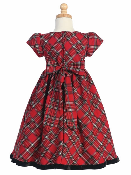 Red Plaid Girls Dress W Velvet Trim