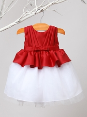 Red Pleated Satin & Tulle Dress
