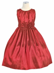 Red Pleated Solid Taffeta Dress w/ Hand Rolled Flower