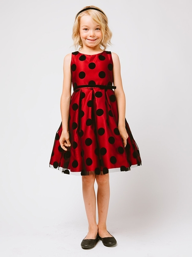 Red Polka Dot Flocked Mesh Dress