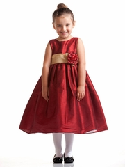Red Polyester Dupioni Dress w/ Gold Organza Sash