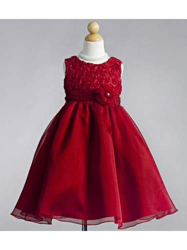 Red Ribbon Embroidered Rosebuds with Tulle Skirt