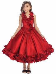 Red Ruffle Halter Pageant Dress