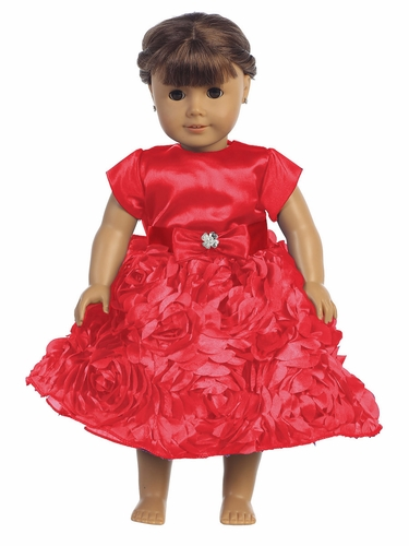"Red Satin Bodice w/ Floral Ribboned Skirt 18"" Doll Dress"