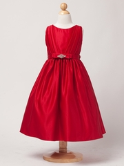 Red Satin Dress w/ Rhinestone Pin