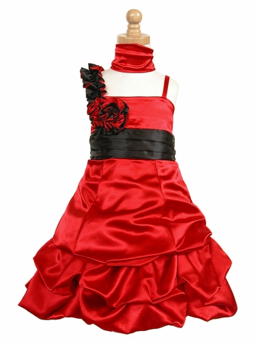 Red Satin Gathered Bubble Dress w/ Two Tone Flower