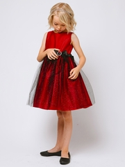 Red Satin & Glitter Mesh Dress