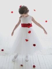 Red Satin Tulle Dress w/ Sash & Floating Flowers