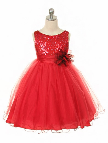 Red Sequined Bodice w/ Double Layered Mesh Dress