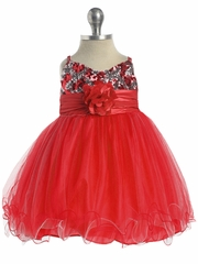 Red /Silver Sequined Bodice Pageant Dress