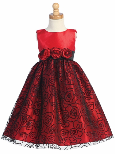 Red Sleevelss Flocked Tulle Dress w/Glitter