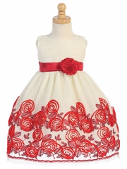 Red Sleeveless Tulle Dress W/ Floral Satin Ribbon