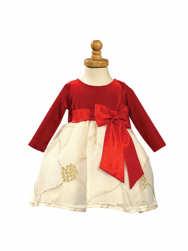 Red Stretch Velvet Bodice with Embroidered Organza Skirt