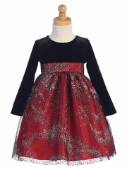 Red Stretch Velvet Dress w/ Sparkle Tulle Skirt