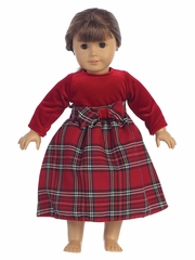 Red Stretch Velvet w/ Plaid 18� Doll Dress