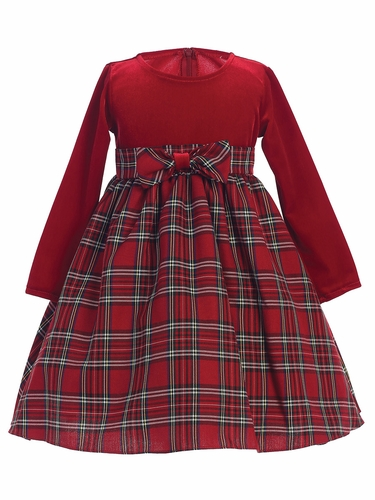 Red Stretch Velvet w/ Plaid Dress