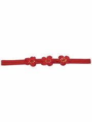 Red Three Flower Infant Headband