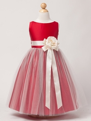 Red Vintage Satin Tulle Dress