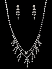 Rhinestone Necklace & Earrings Set