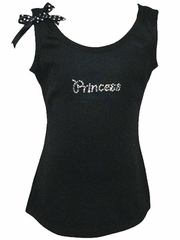 Rhinestone Princess Black Tank Top