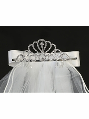 "Rhinestone Tiara w/ Satin Bows On Back Of 24"" Veil"