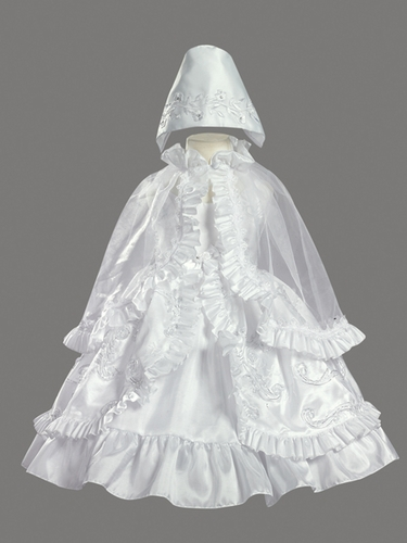 Ribboned Taffeta Dress w/ Ruffled Cape Christening Gown
