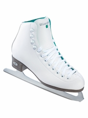 Riedell Ice Skates 10 White Opal Emerald Girls Shoes w/ GR4 Blade