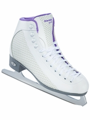 Riedell Ice Skates 113 White & Sparkle Violet Ladies Shoes