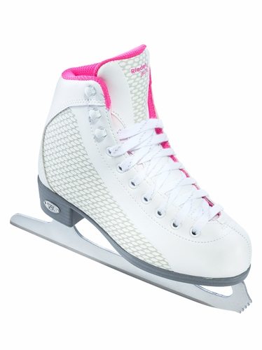 Riedell Ice Skates 13 White & Sparkling Pink Girls Shoes