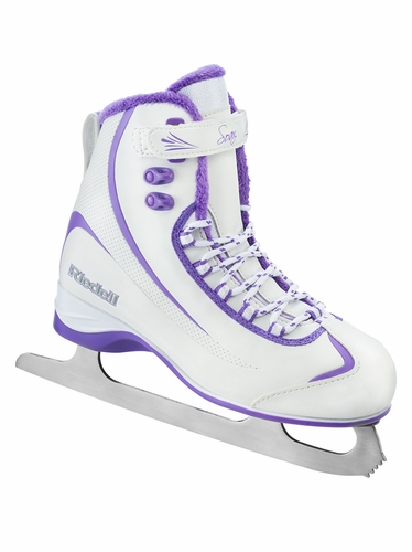Riedell Ice Skates 625 White/Violet Ladies Shoes w/ Soar Stainless Blade
