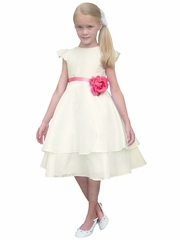 Rosebud Fashions Ivory Cap Sleeve Tiered Dress w/ Removable Ribbon