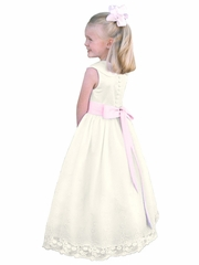Rosebud Fashions Ivory Peter Pan Collar Bodice w/ Removable Sash & Embroidered Skirt Dress