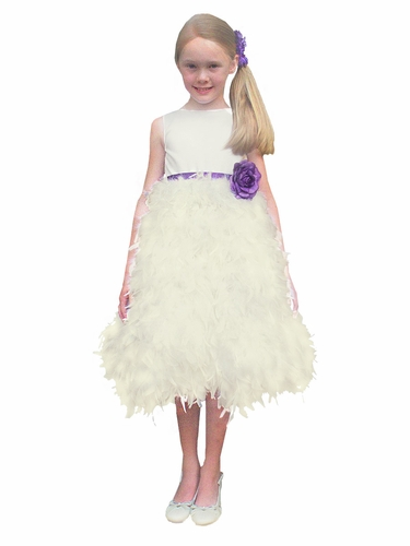Rosebud Fashions Ivory Satin Bodice w/ Feather Skirt & Removable Ribbon Dress