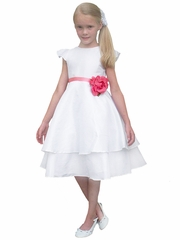 Rosebud Fashions White Cap Sleeve Tiered Dress w/ Removable Ribbon