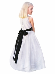 Rosebud Fashions White Natural Silk Scoop Neckline Dress w/ Removable Dupioni Silk Sash
