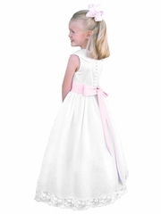 Rosebud Fashions White Peter Pan Collar Bodice w/ Removable Sash & Embroidered Skirt Dress